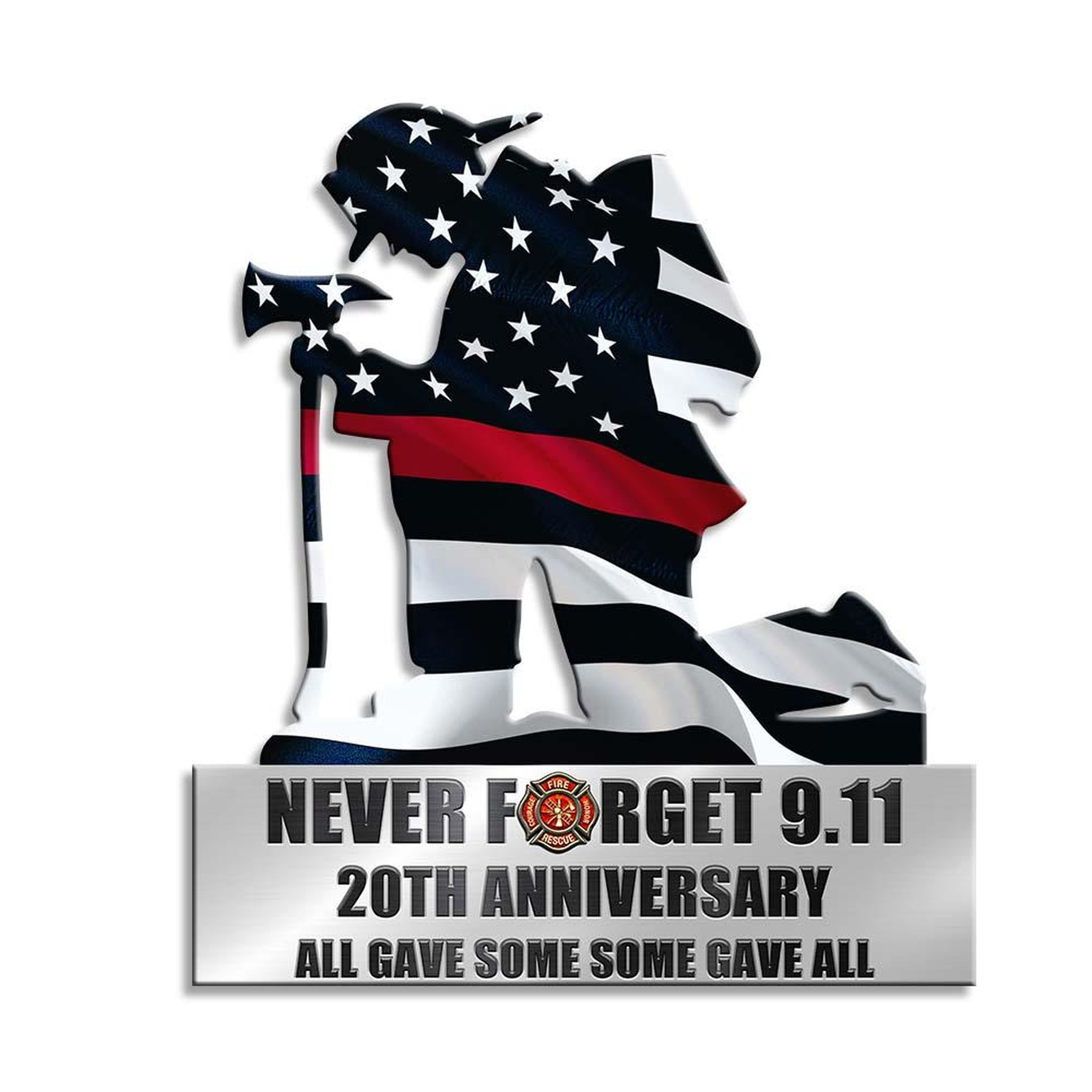 Kneeling firefighter never forget 9 11 20th anniversary yard sign