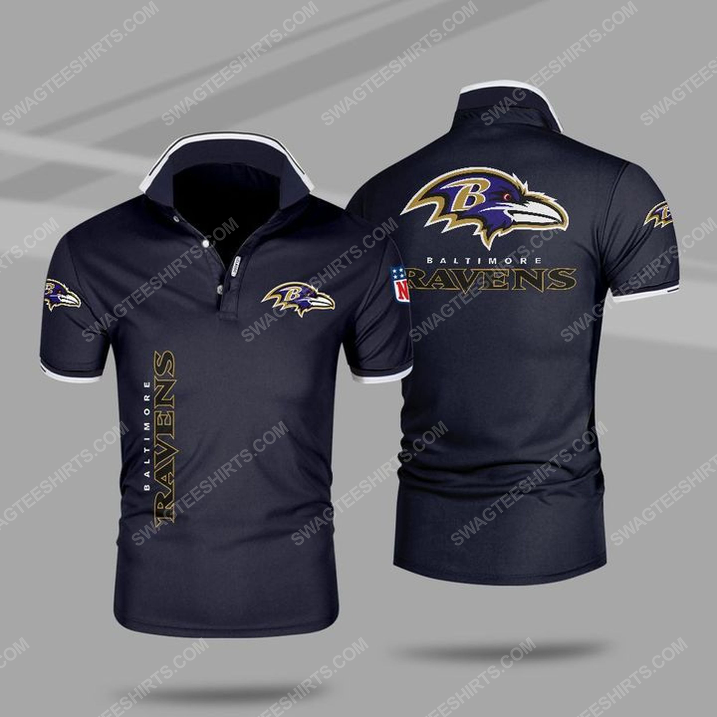 The baltimore ravens nfl all over print polo shirt - navy 1