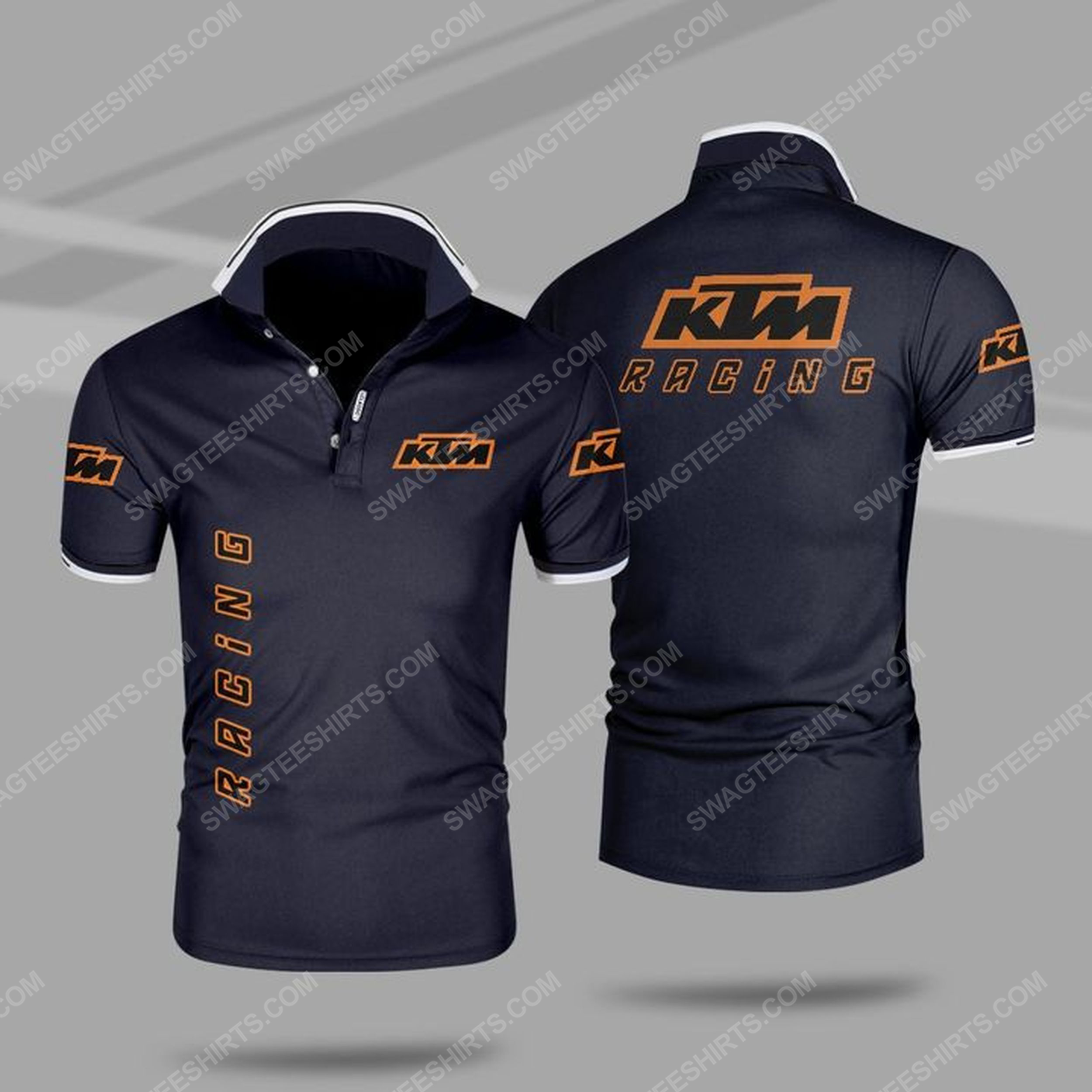 The ktm motorcycle racing all over print polo shirt - navy 1