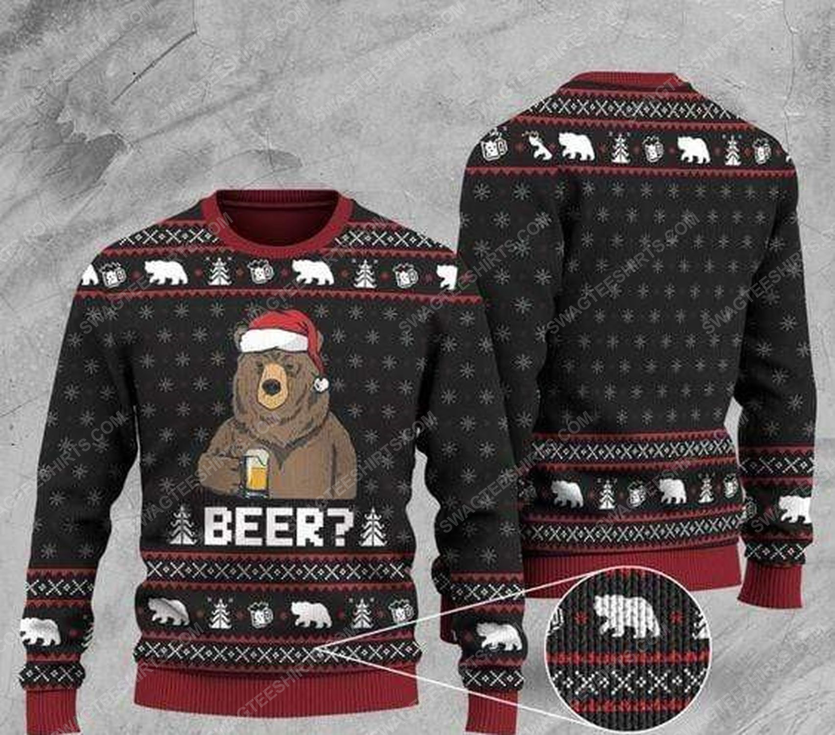 Bear with beer all over print ugly christmas sweater