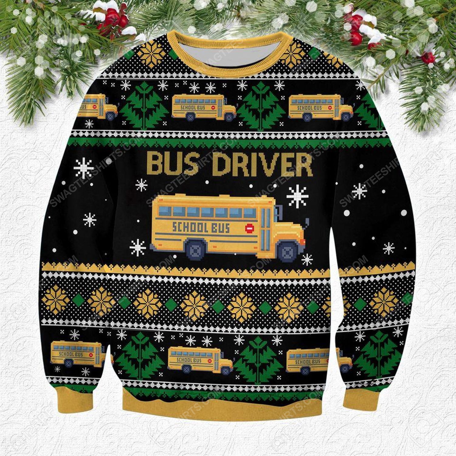Bus driver all over print ugly christmas sweater 1