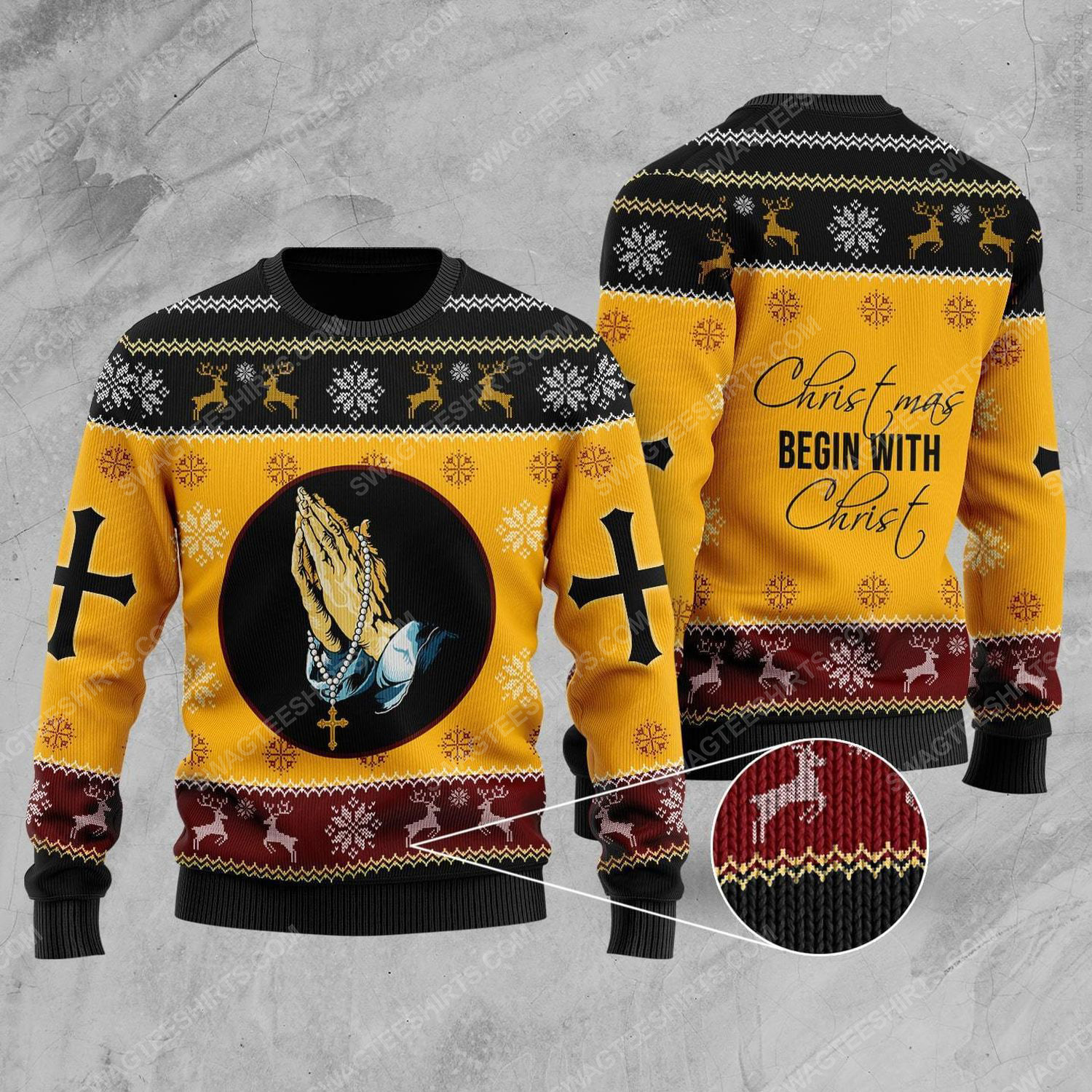 Christmas begins with Christ all over print ugly christmas sweater