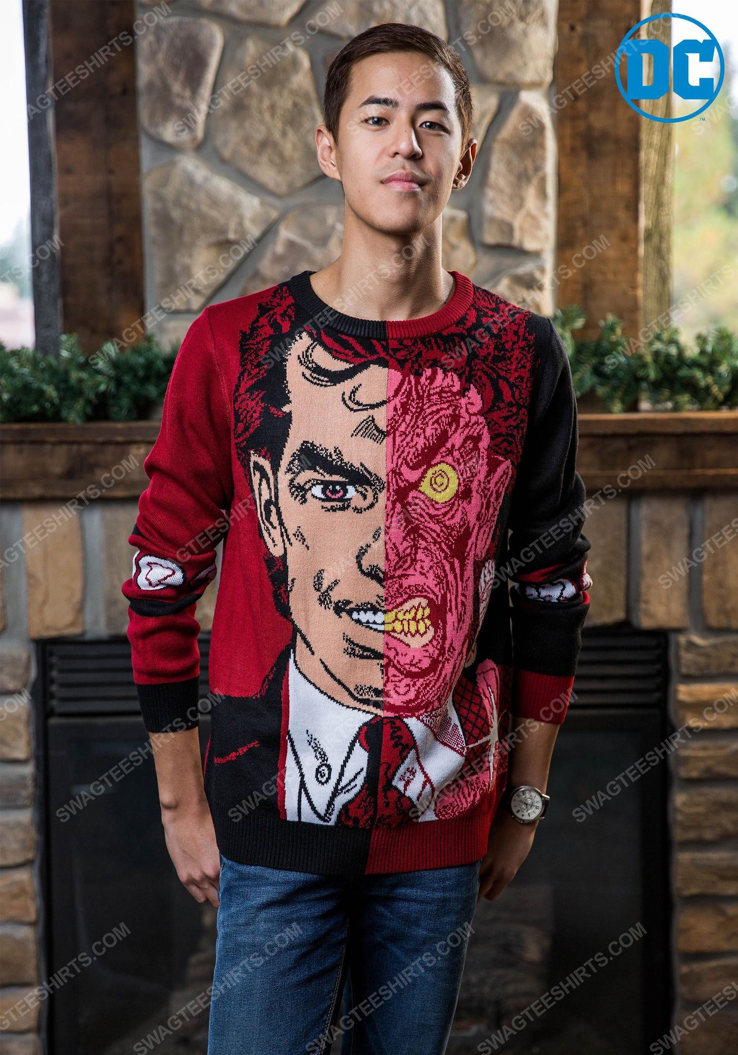 Christmas holiday batman two-face full print ugly christmas sweater 1