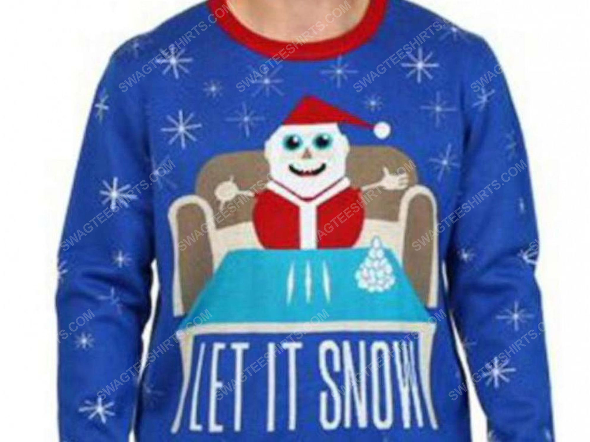 Christmas party let it snow cocaine full print ugly christmas sweater