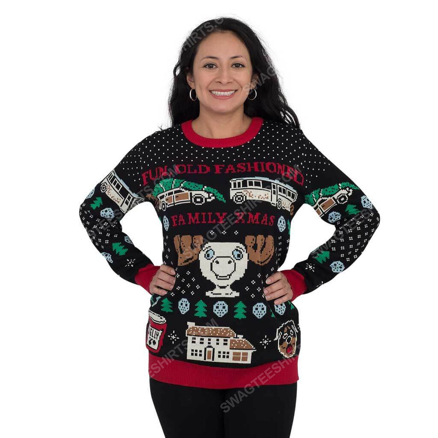 Christmas vacation fun old-fashioned family full print ugly christmas sweater 1