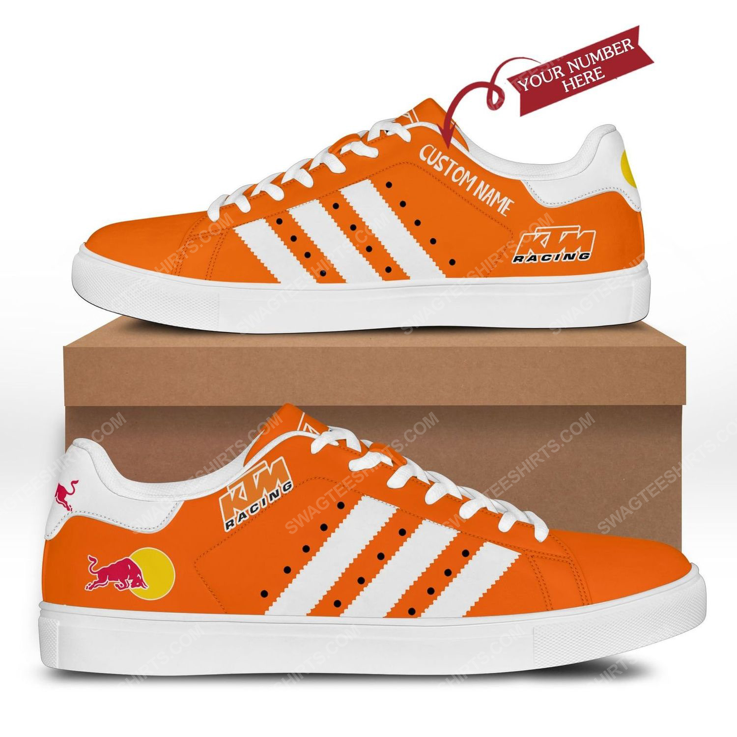 Custom red bull ktm factory racing stan smith shoes 3