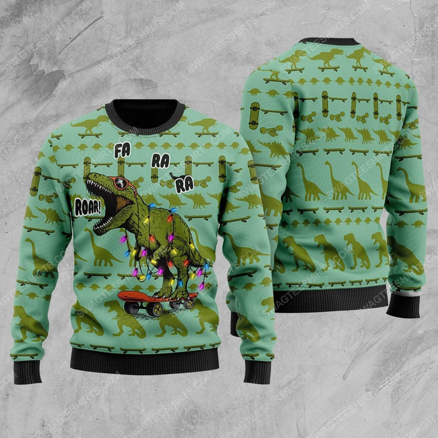 Dinosaurs roar all over print ugly christmas sweater 1
