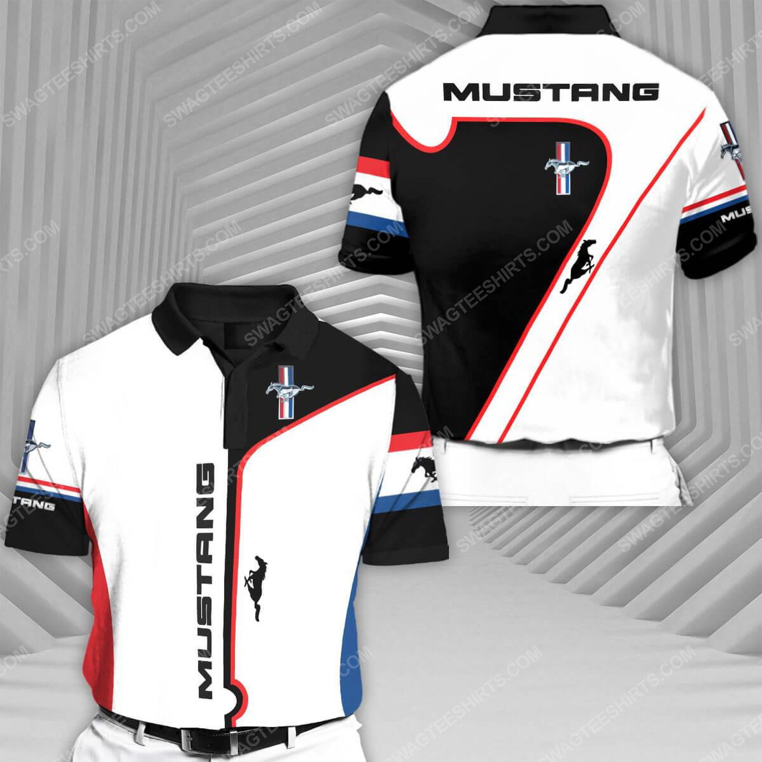 Ford mustang sports car racing all over print polo shirt 1