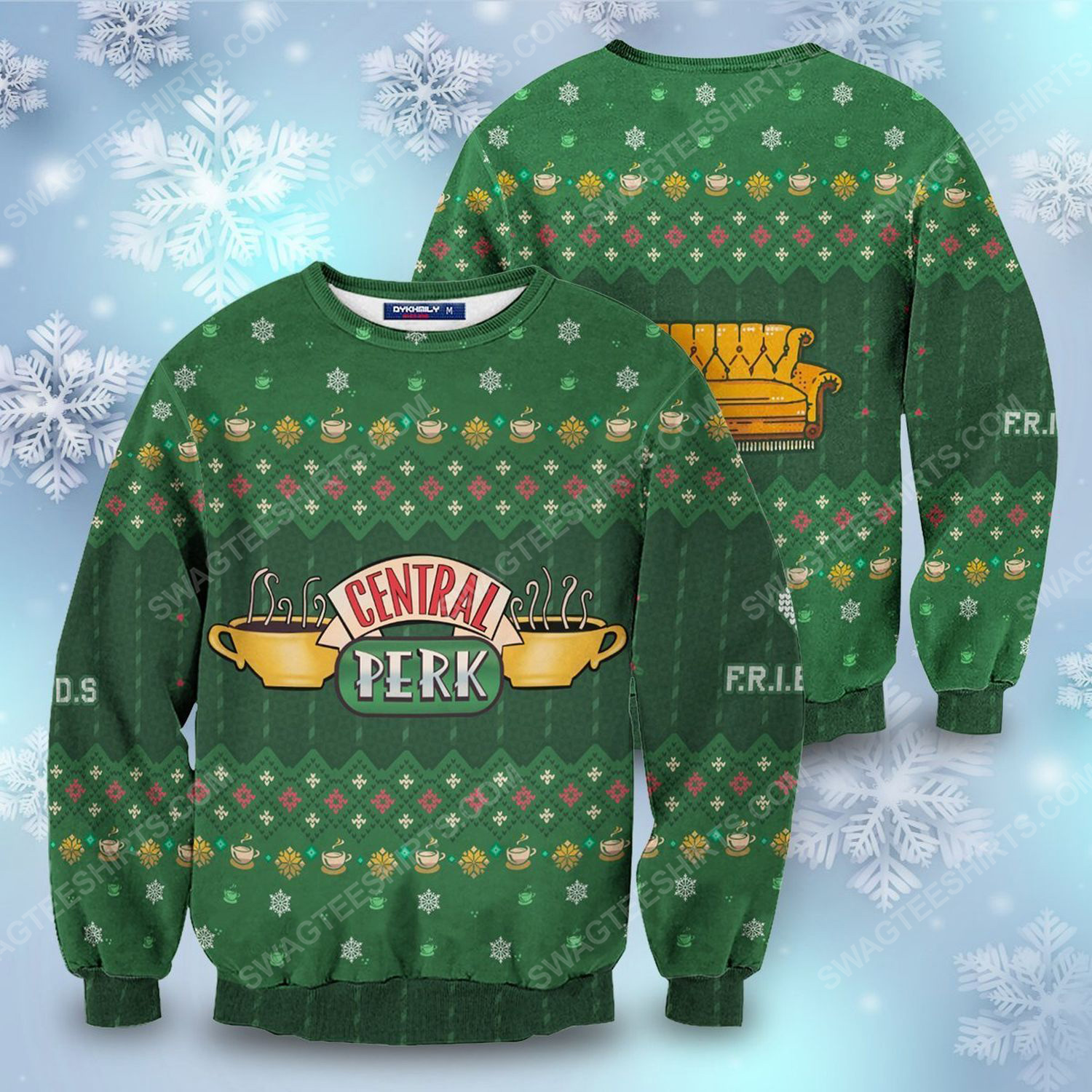 Friends central perk full print ugly christmas sweater 1