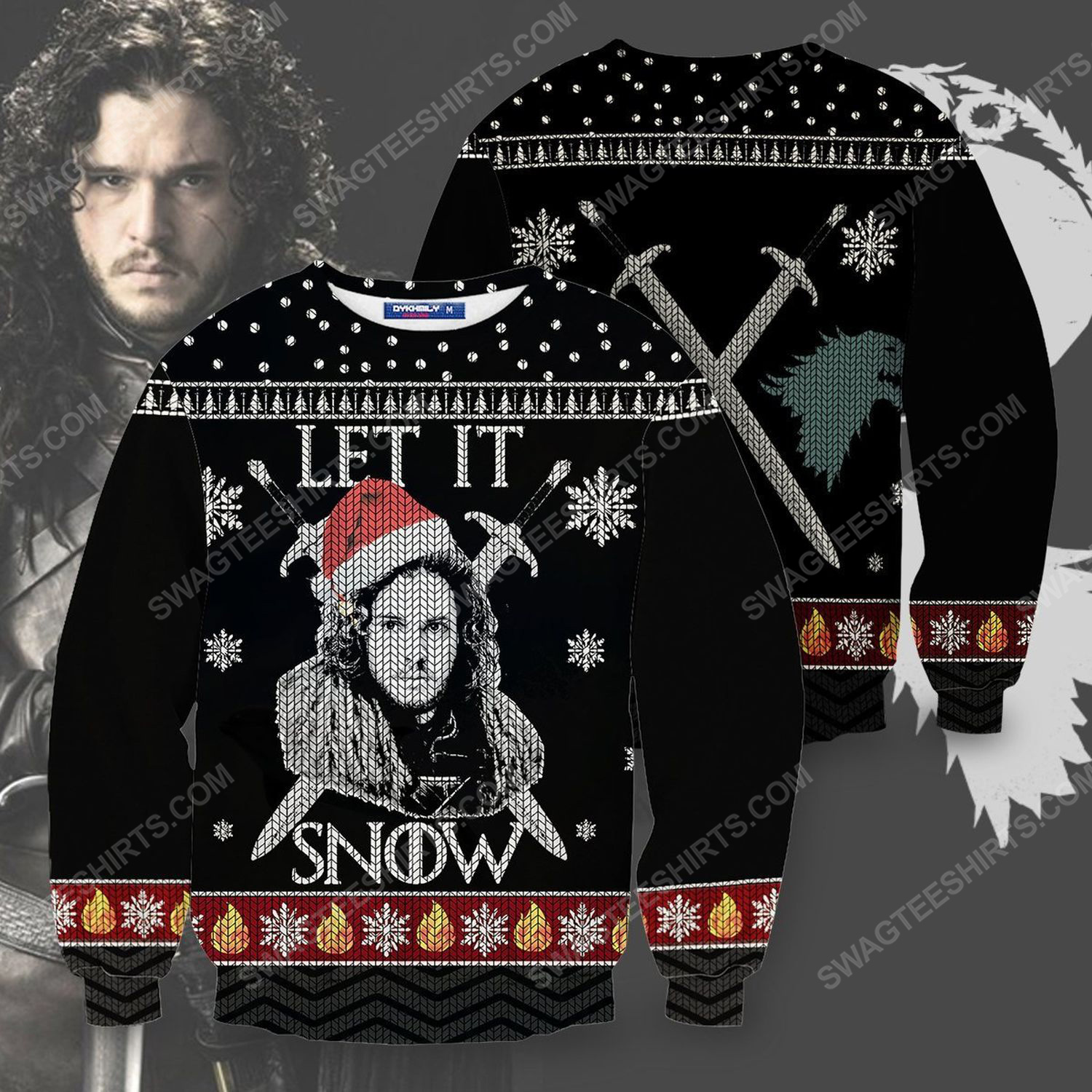 GOT let it snow jon snow for christmas time full print ugly christmas sweater 1