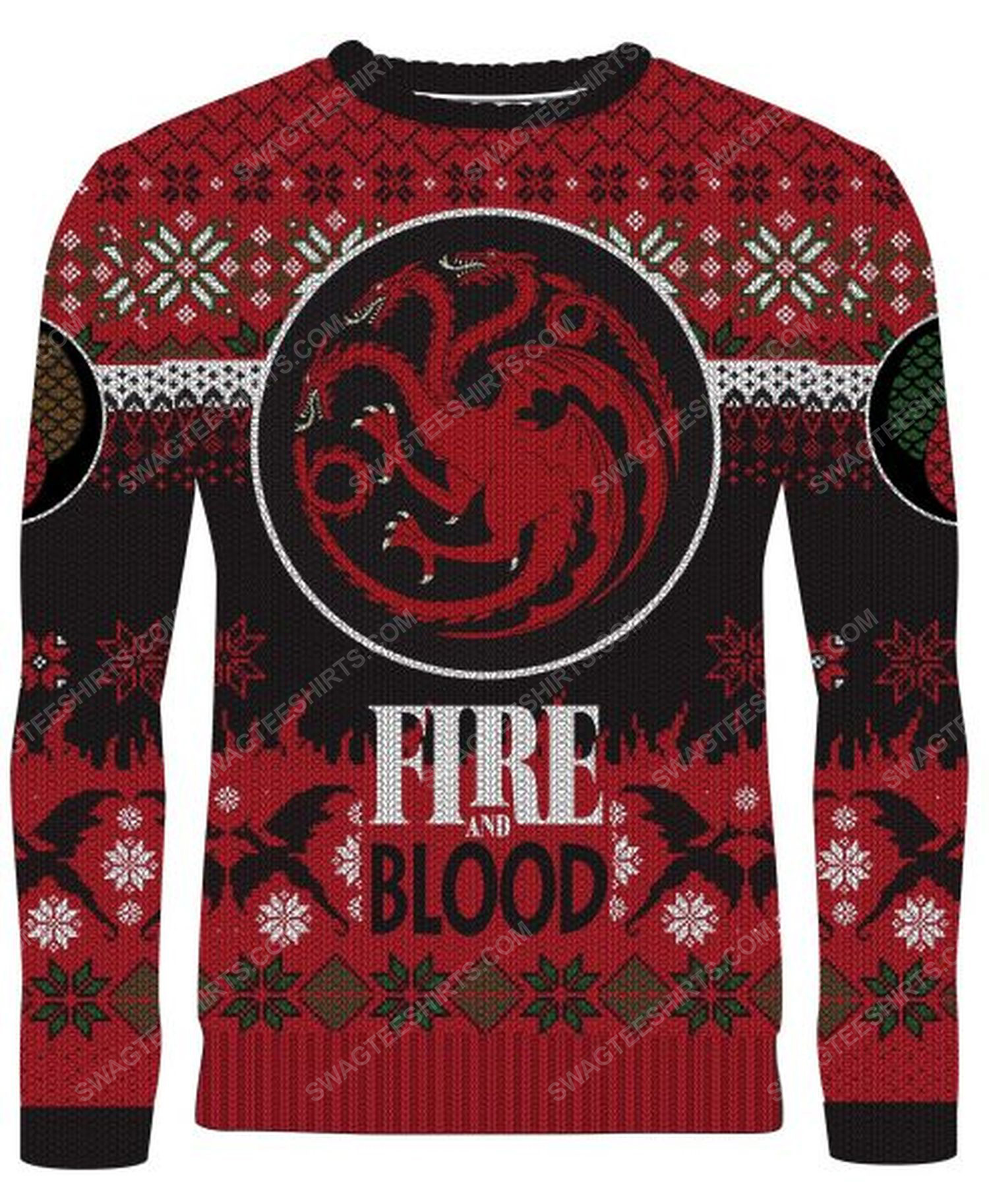 Game of thrones fire and blood targaryen full print ugly christmas sweater 1