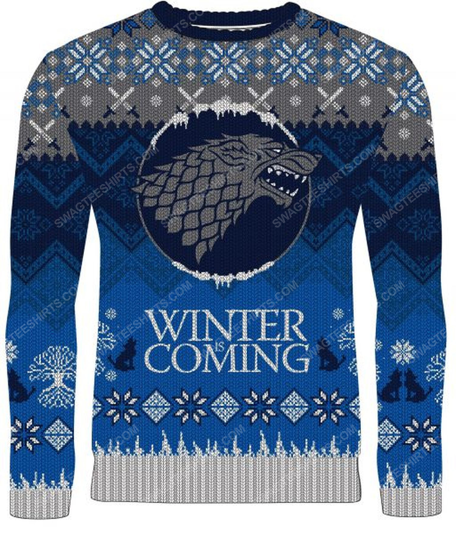 Game of thrones winter is coming stark full print ugly christmas sweater