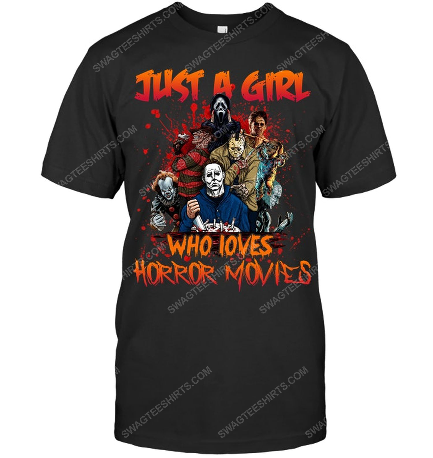 Halloween just a girl who loves horror movies shirt 1