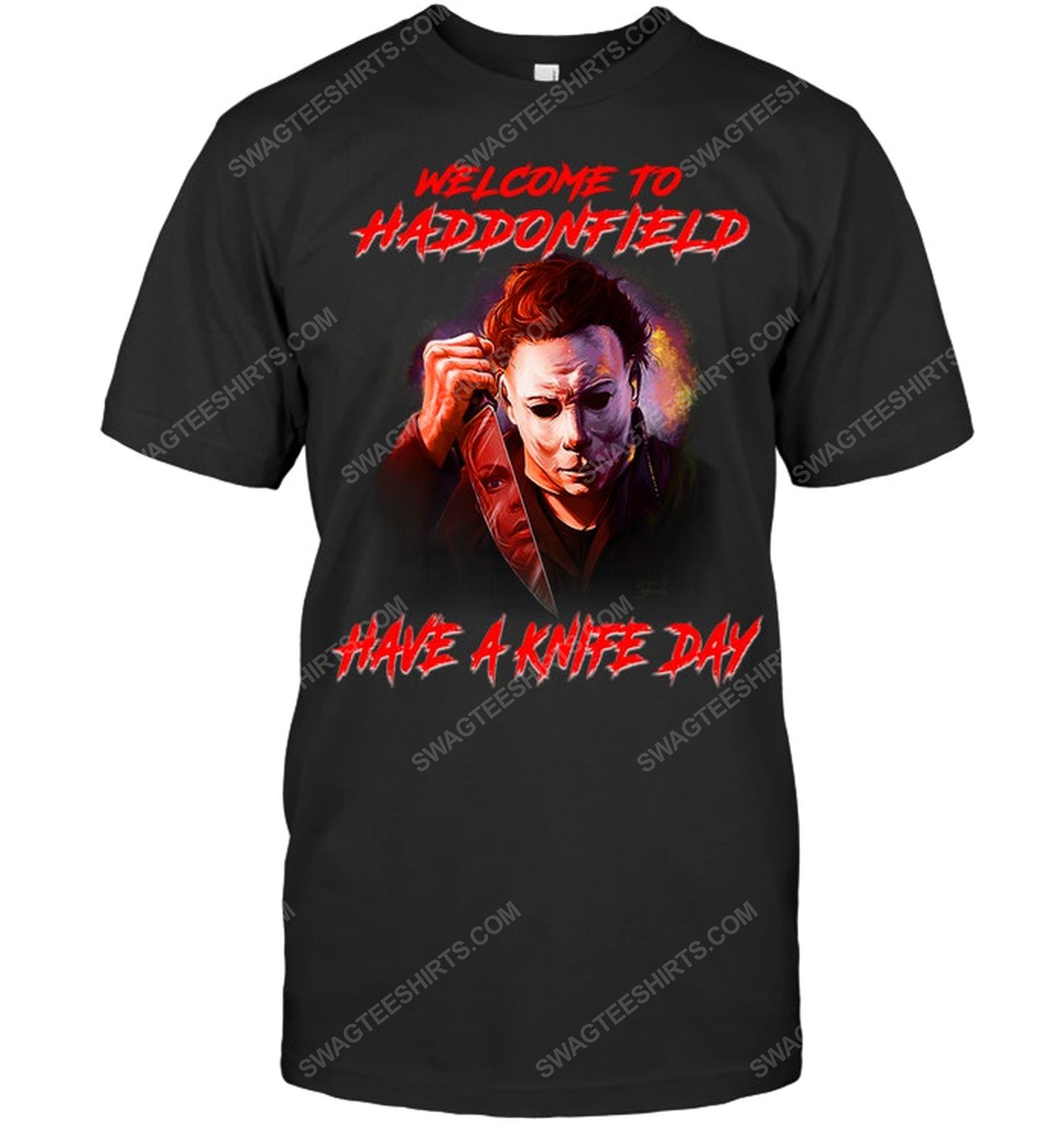 Halloween michael myers welcome to haddonfield have a knife day shirt 1