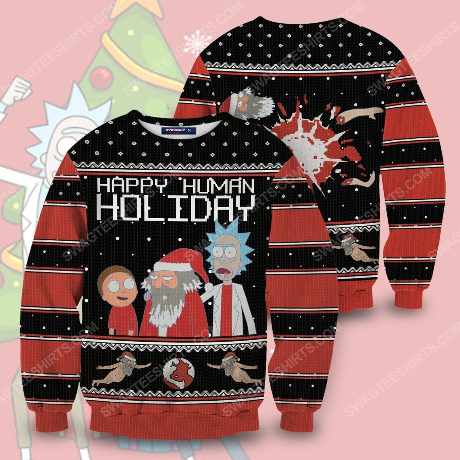 Happy human holiday rick and morty full print ugly christmas sweater 1