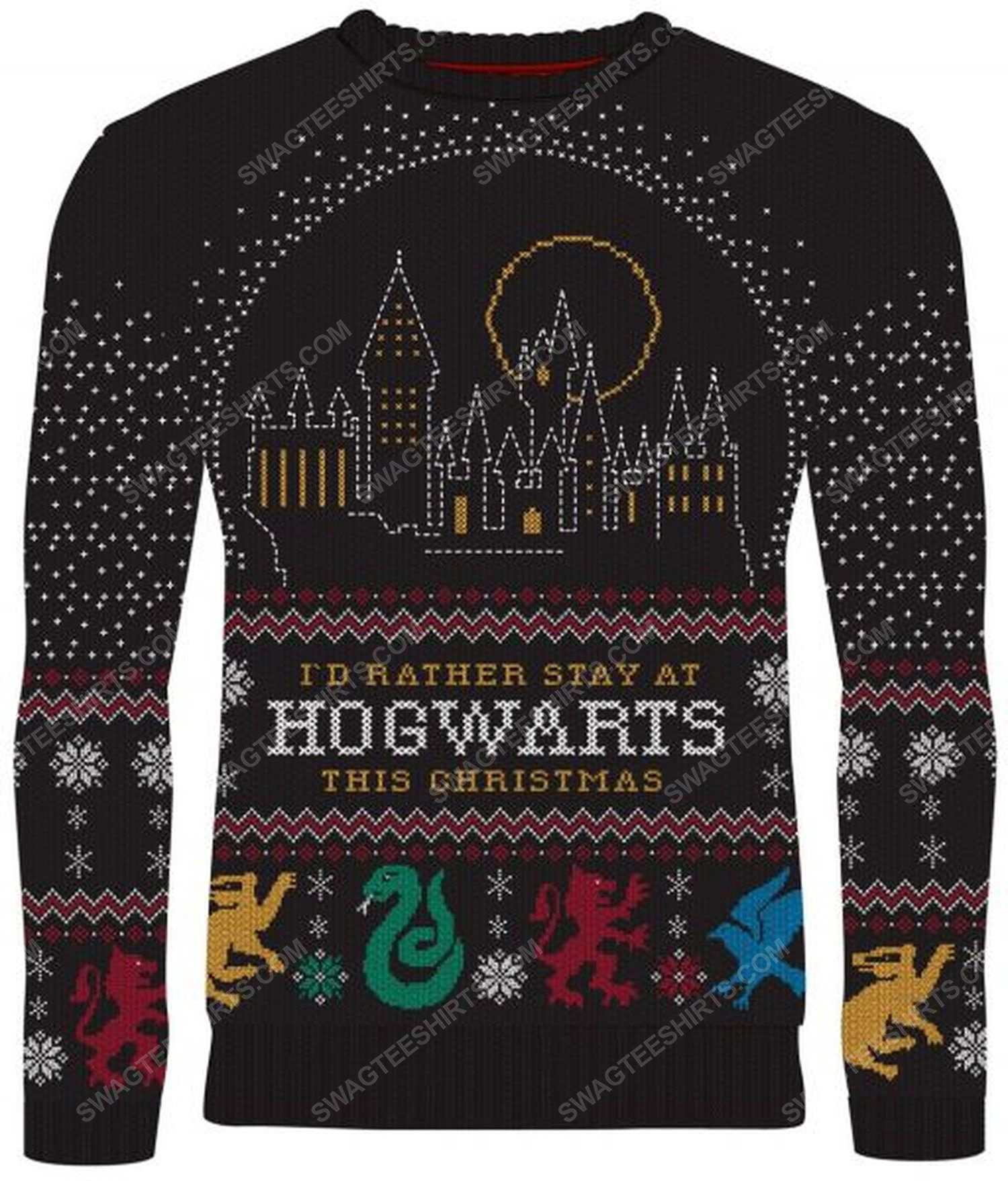 Harry potter i'd rather stay at hogwarts this christmas full print ugly christmas sweater 1