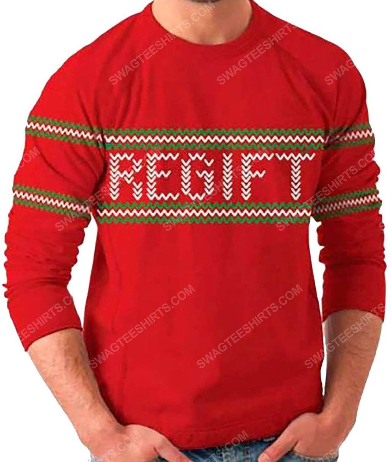 Holiday present regift full print ugly christmas sweater 1