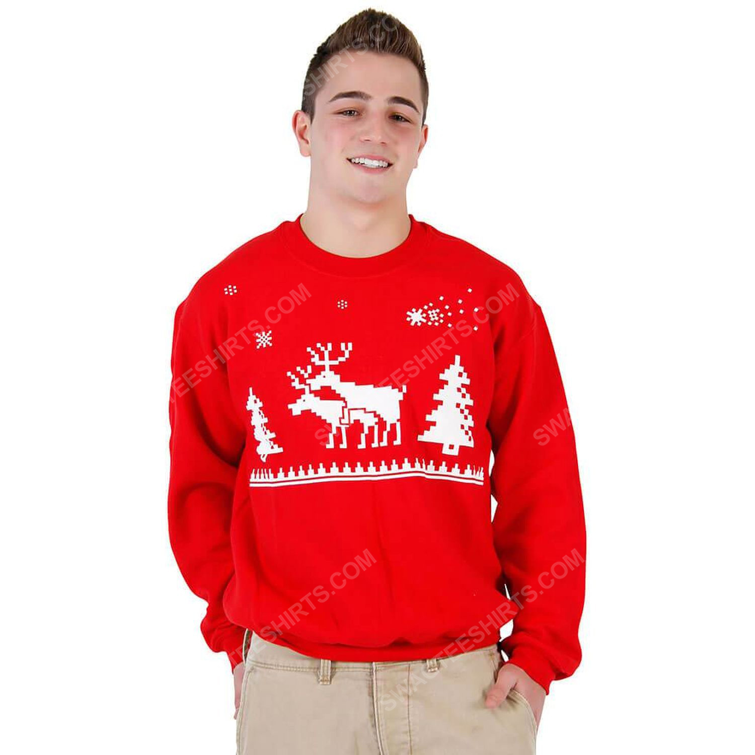 Humping reindeer full print ugly christmas sweater 1