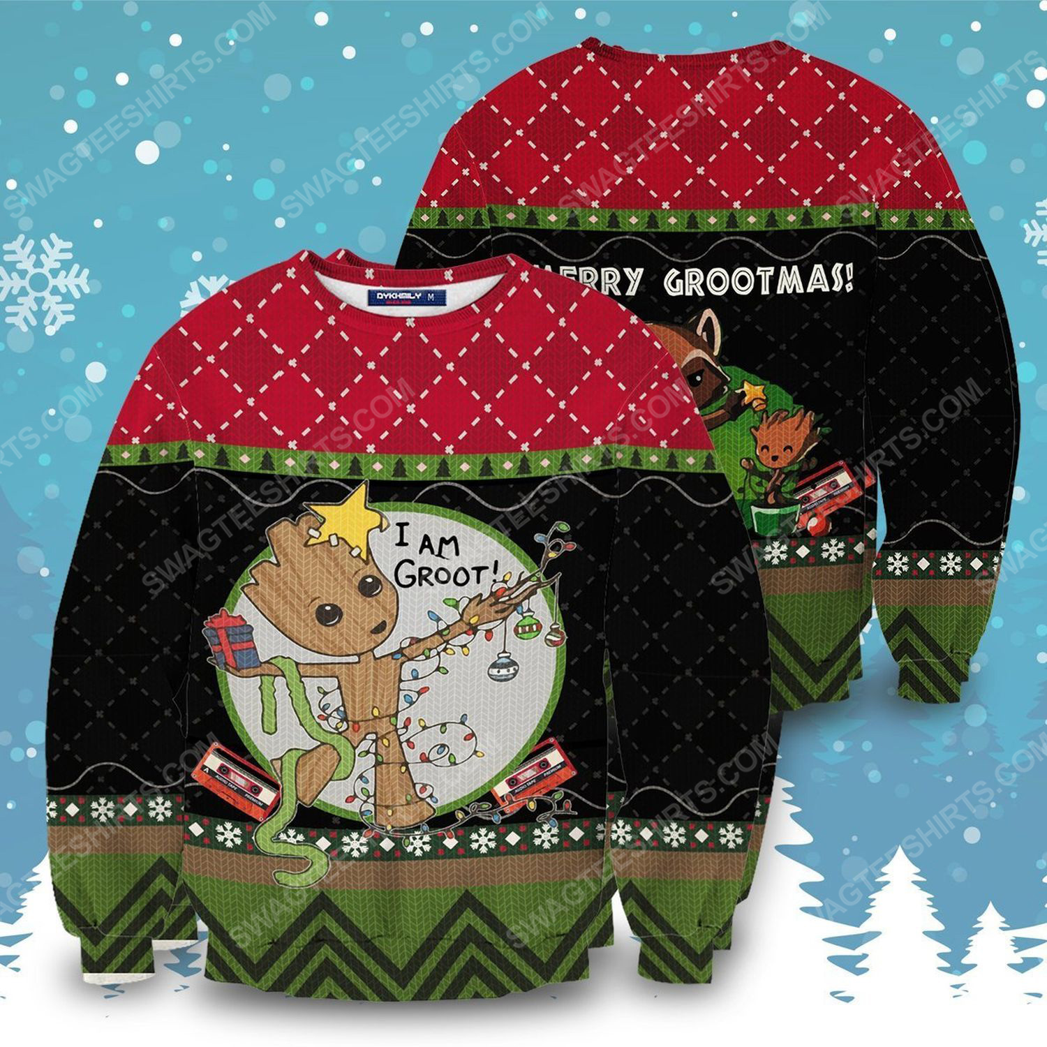 I am groot for christmas full print ugly christmas sweater 1