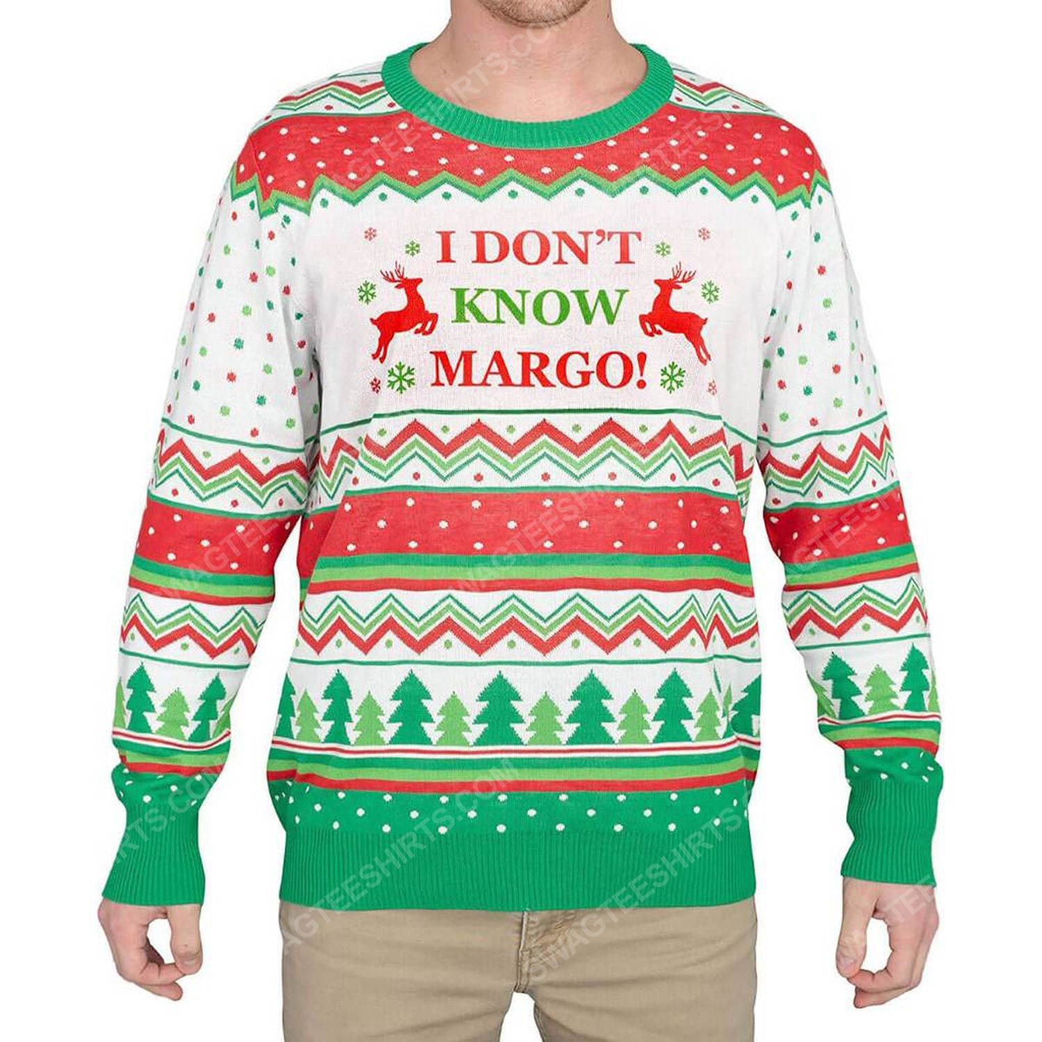 I don't know margo full print ugly christmas sweater 1