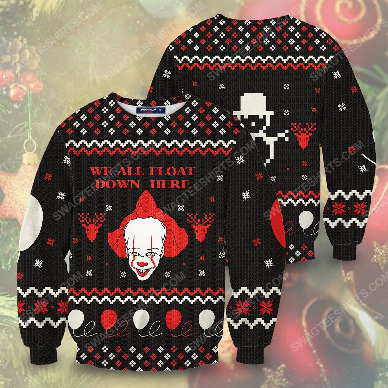 IT pennywise we all float down here ugly christmas sweater 1