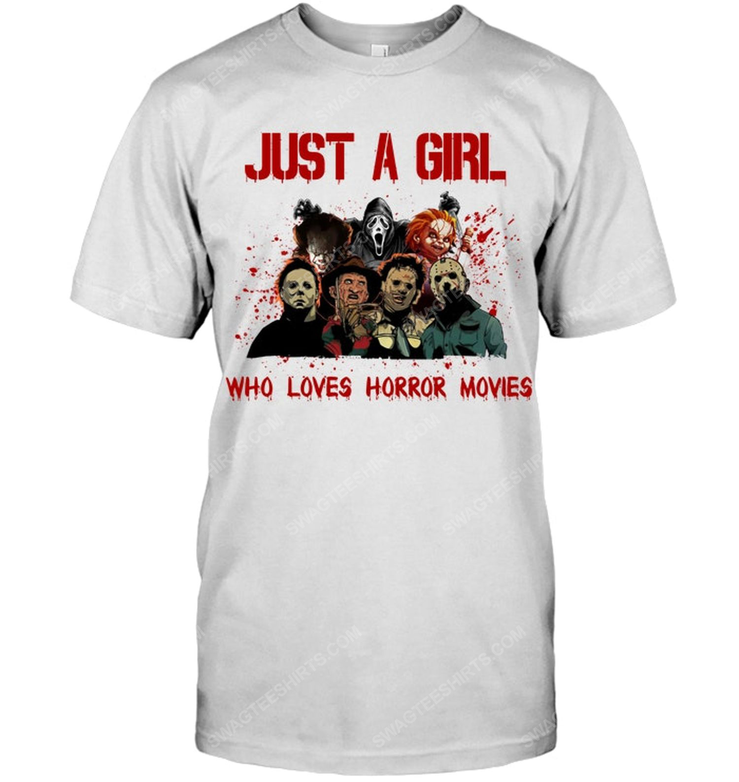 Just a girl who loves horror movies horror characters for halloween shirt 1