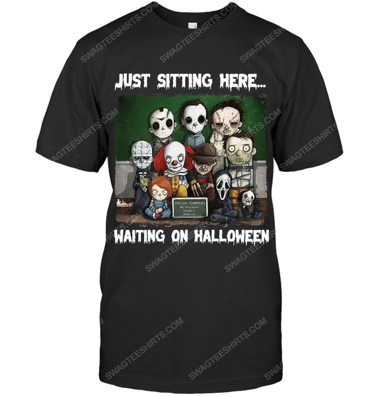 Just sitting here waiting on halloween horror characters shirt