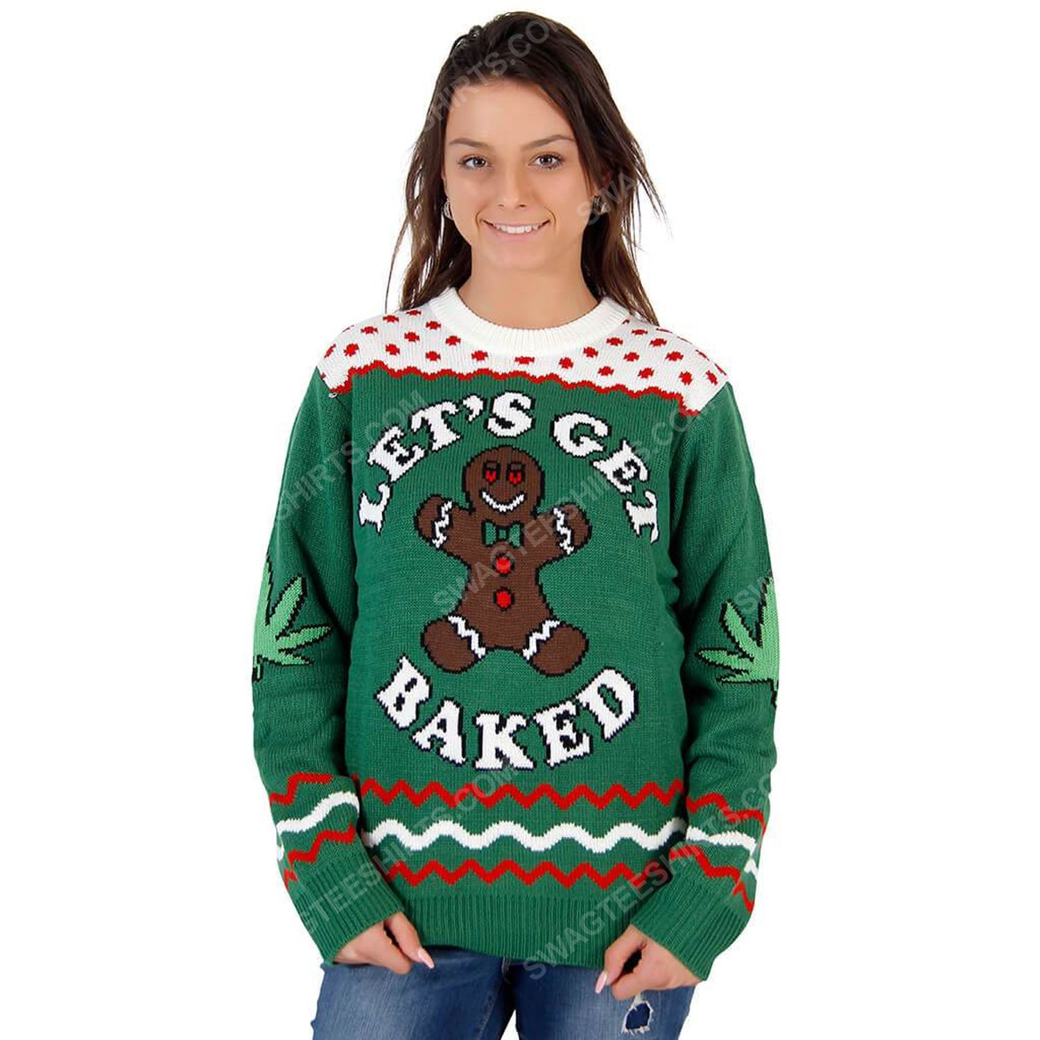 Let's get baked happy gingerbread ugly christmas sweater 1