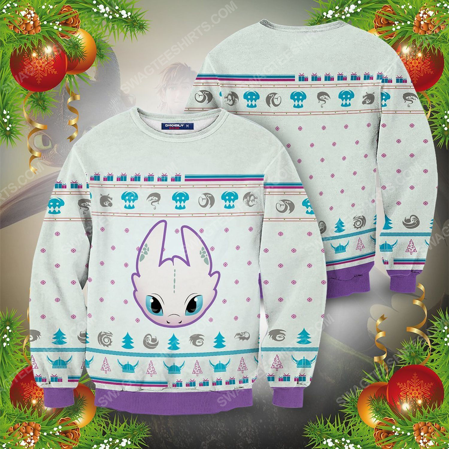 Light fury how to train your dragon ugly christmas sweater 1