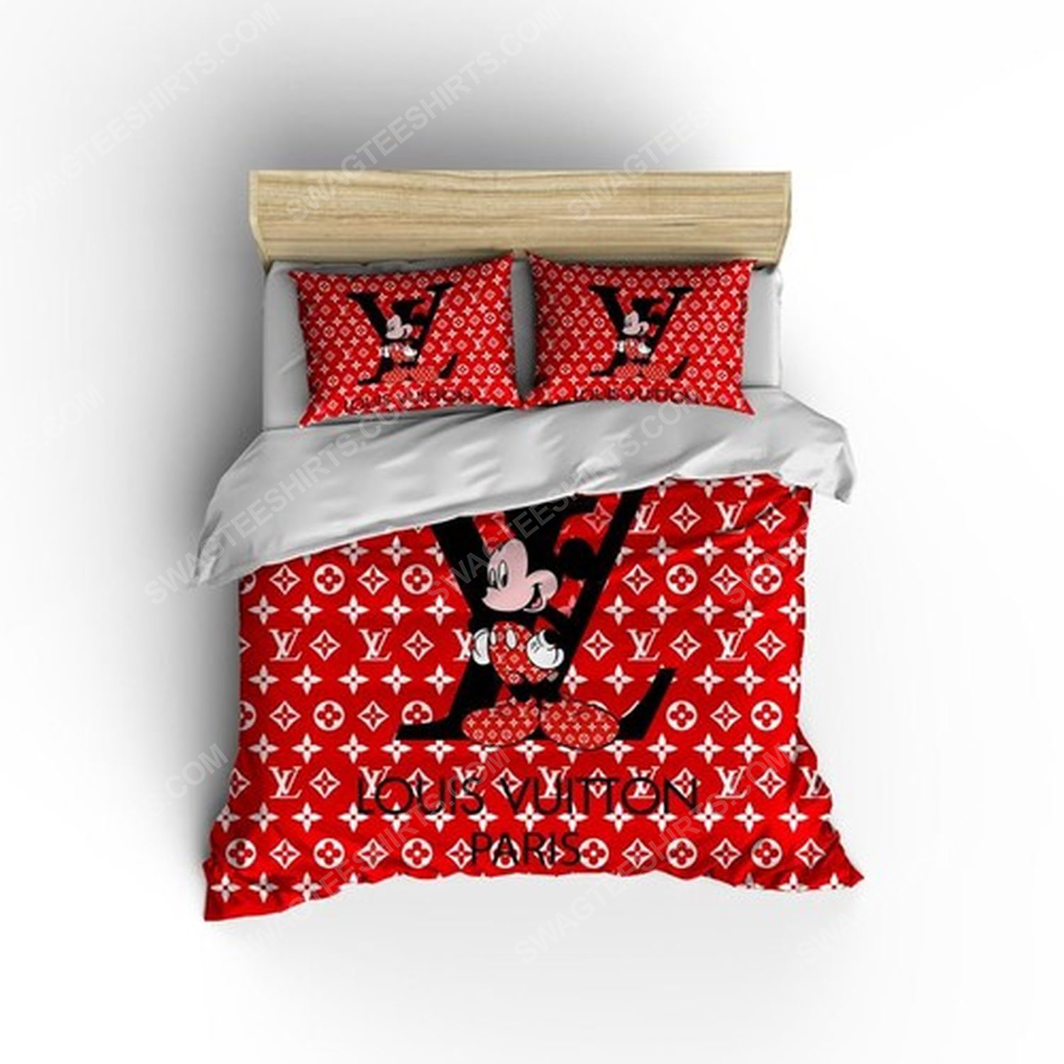 Lv and mickey mouse full print duvet cover bedding set 1