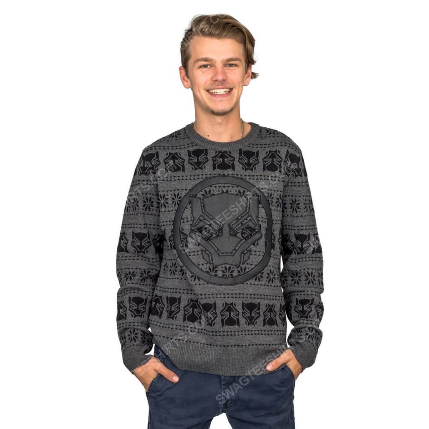 Marvel comics black panther full print ugly christmas sweater 1