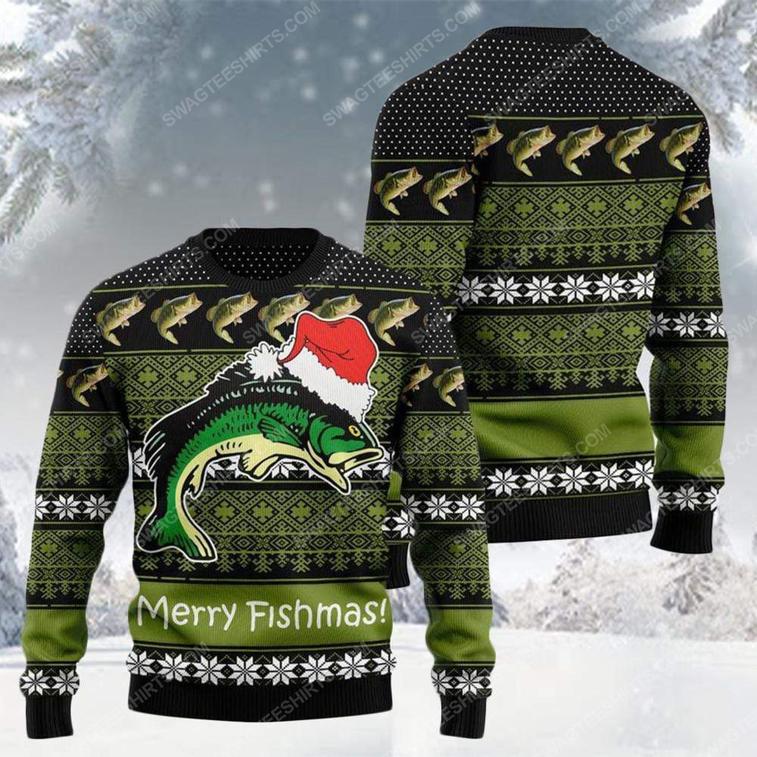 Merry fishmas for fishing all over print ugly christmas sweater