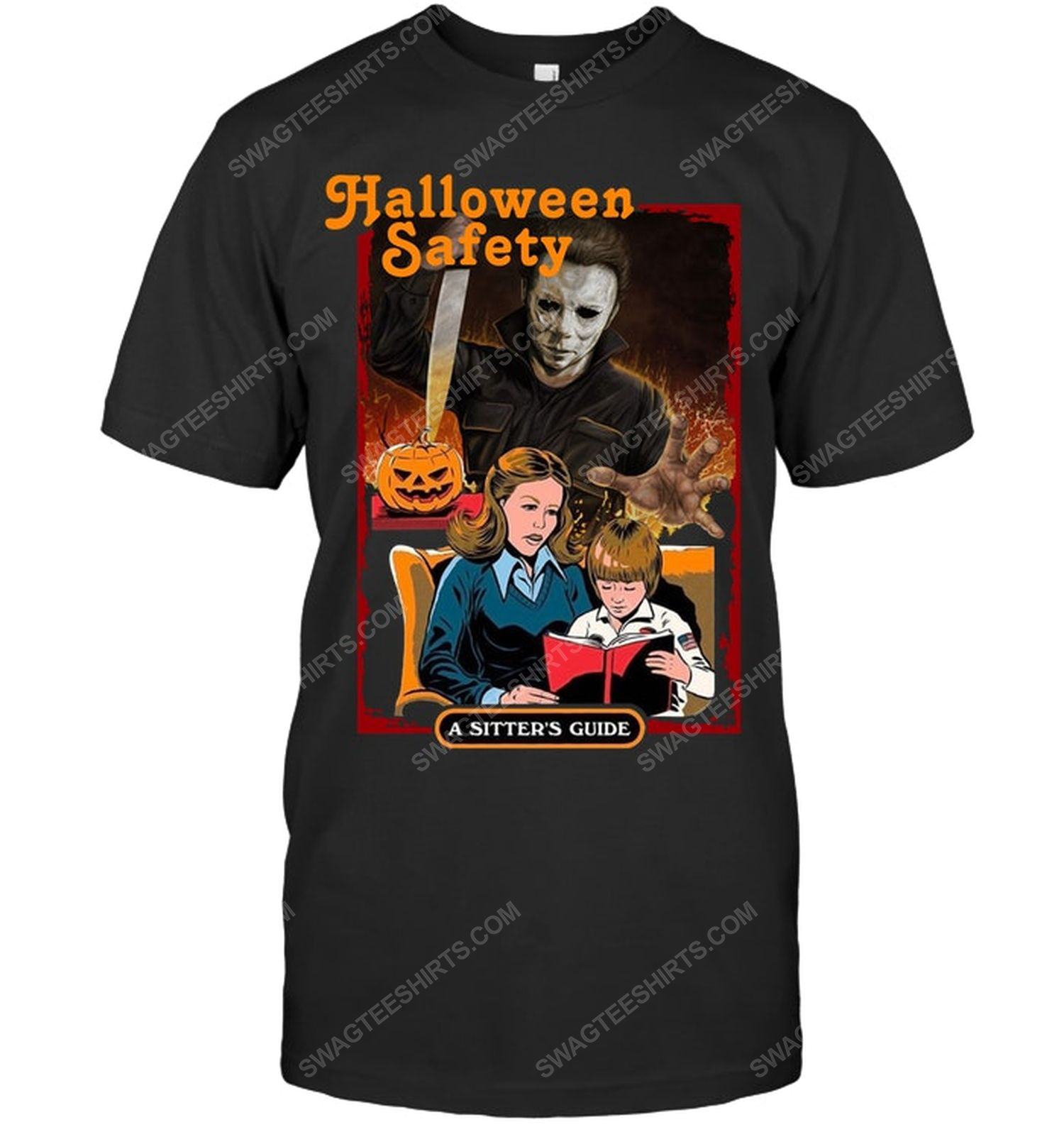 Michael myers halloween safety a sitter's guide shirt 1