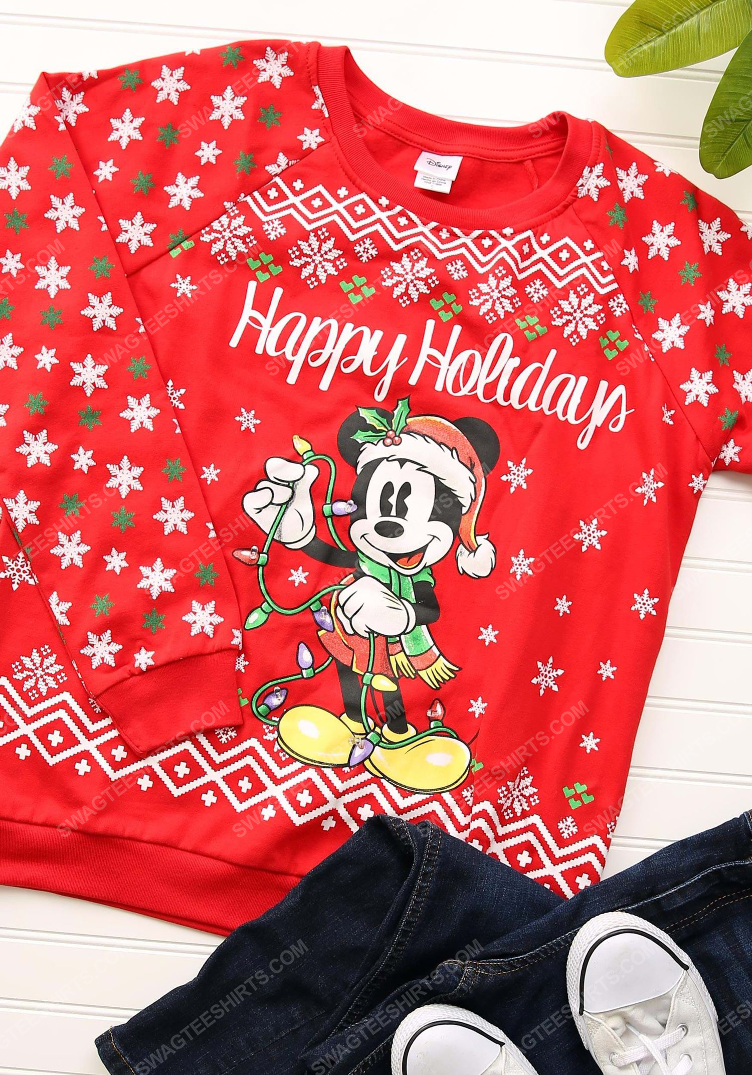 Mickey mouse happy holidays light up full print ugly christmas sweater 1