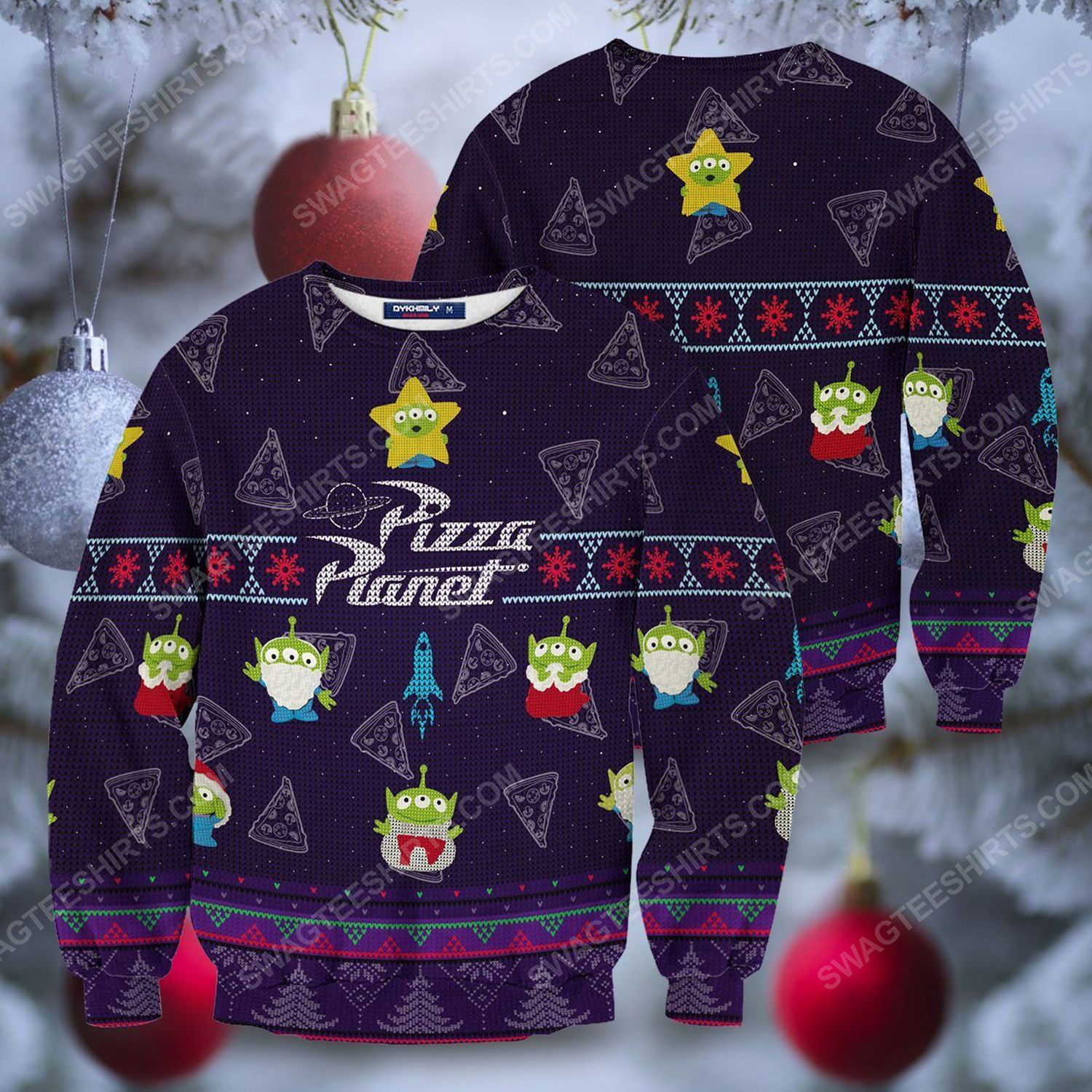 Pizza planet full print ugly christmas sweater 1