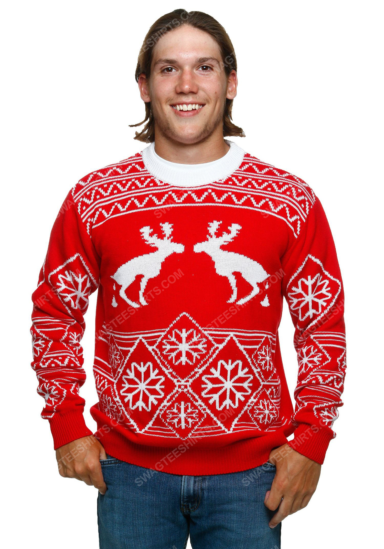 Pooping moose full print ugly christmas sweater 1 - Copy (2)