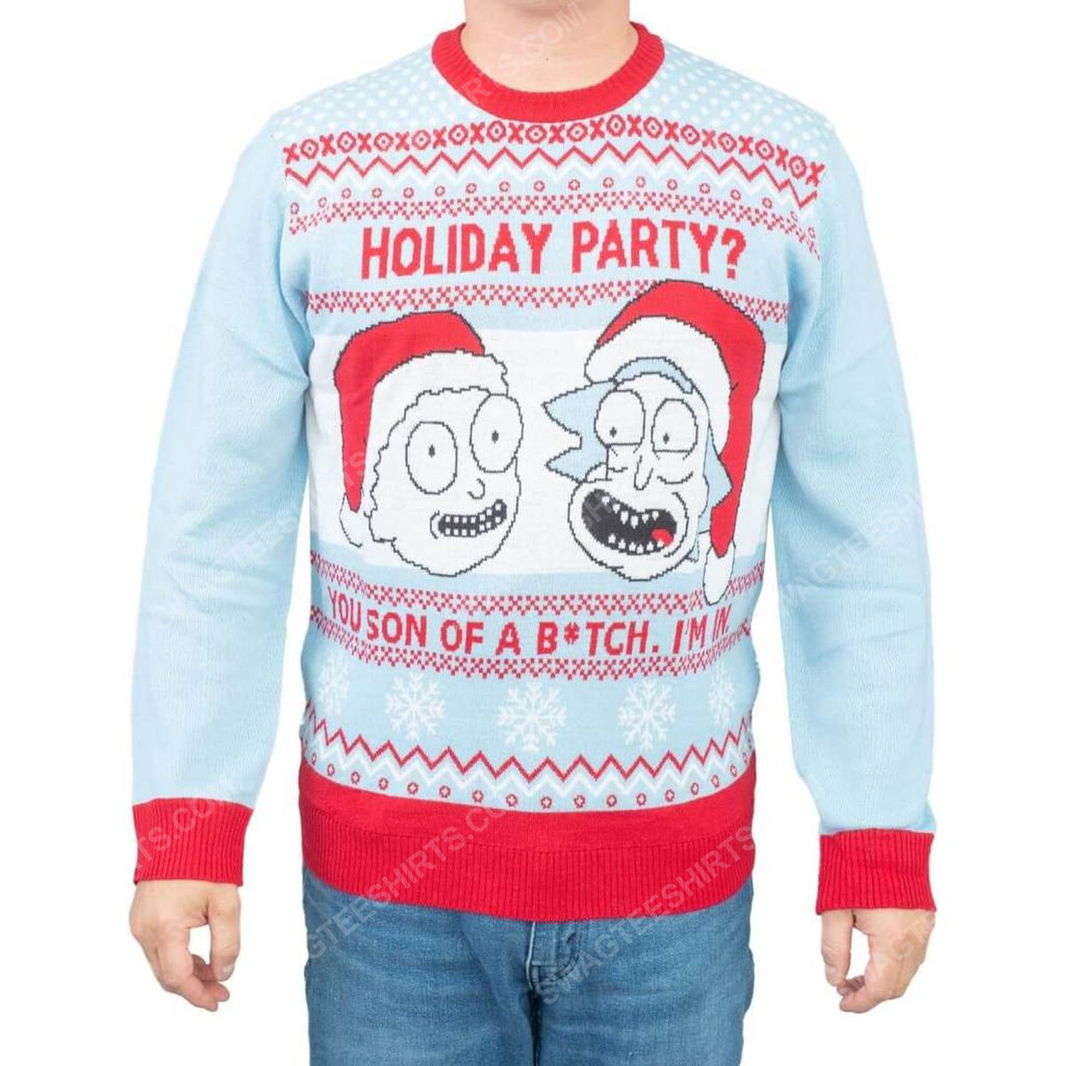 Rick and morty holiday party you son of a bitch i'm in full print ugly christmas sweater 1