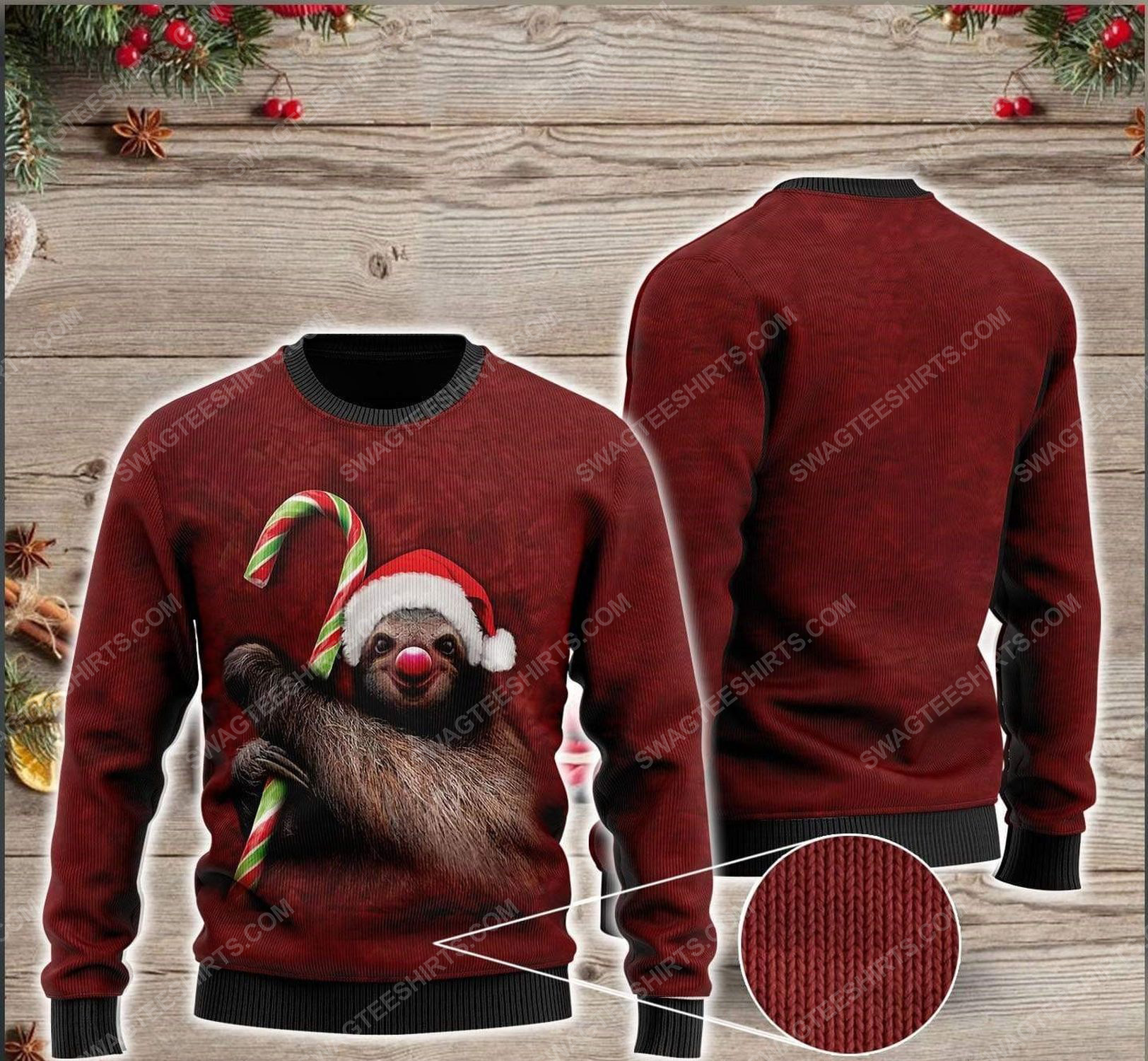 Sloth and candy cane all over print ugly christmas sweater 1