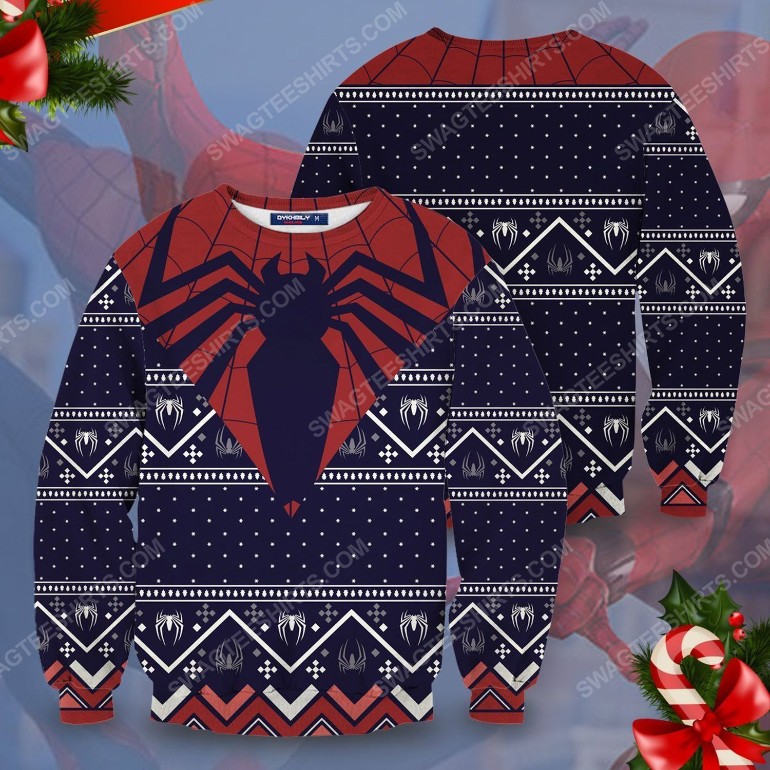 The spider man full printing ugly christmas sweater
