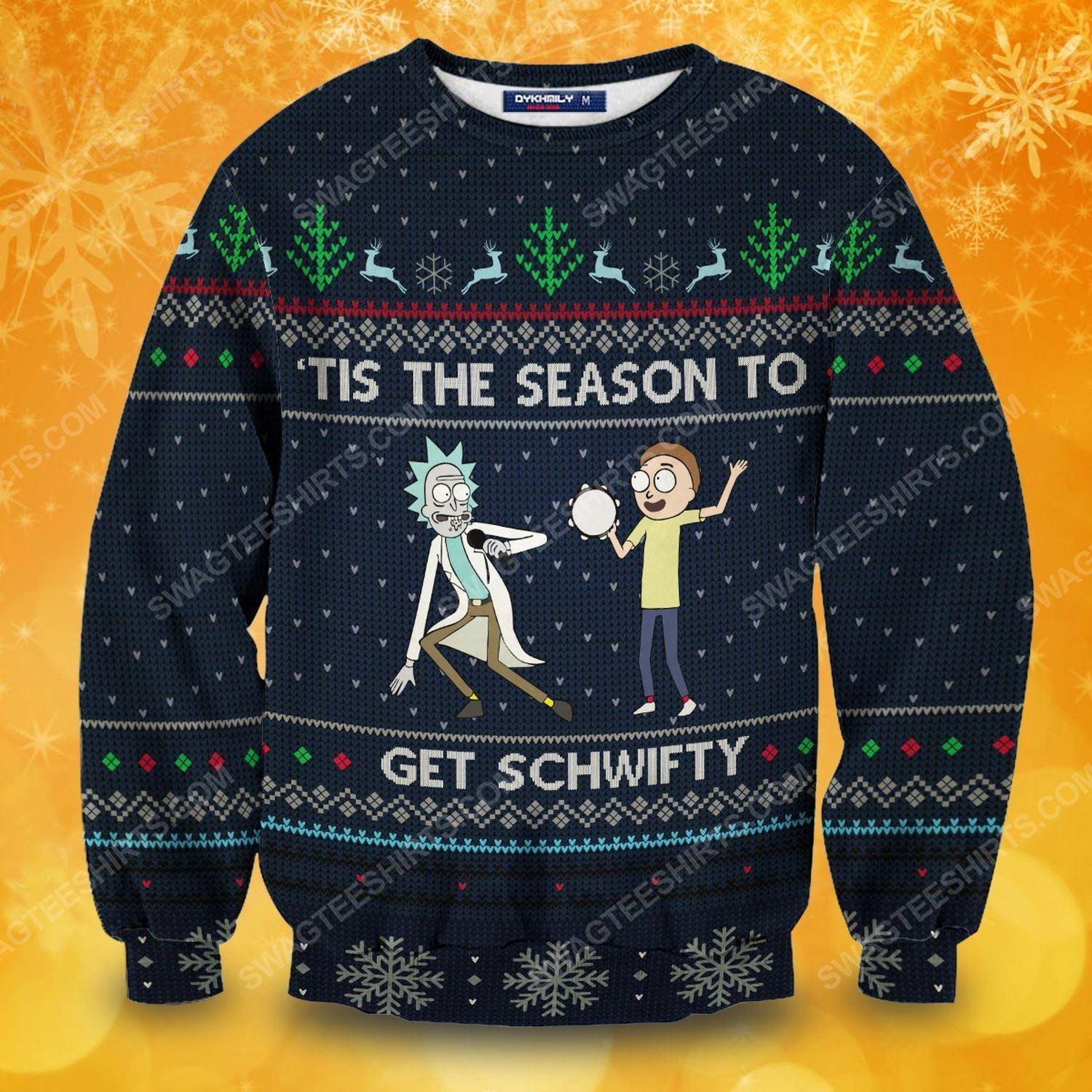 Tis the season to get schwifty rick and morty full print ugly christmas sweater 1
