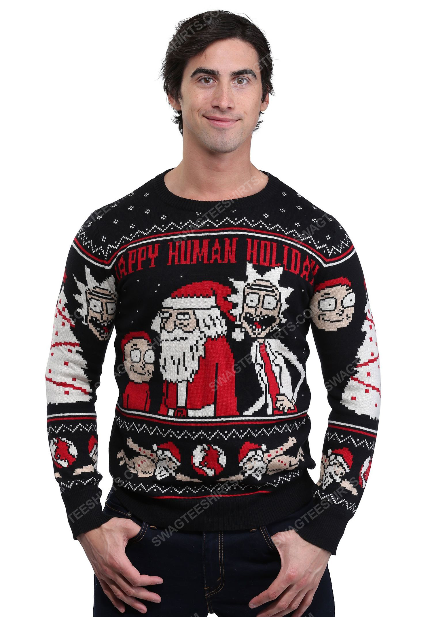 Tv show rick and morty happy human holiday ugly christmas sweater
