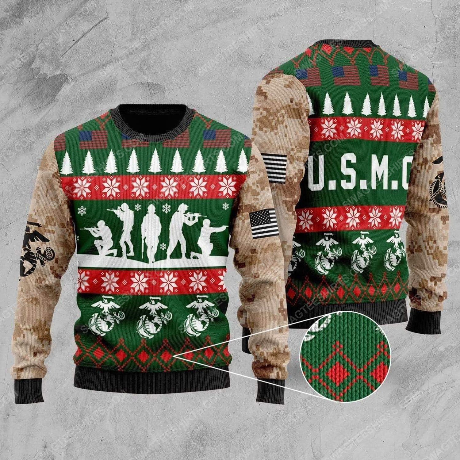 United states marine corps all over print ugly christmas sweater 1
