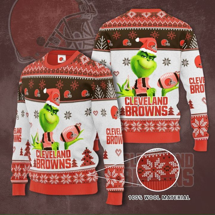 Grinch Cleveland Browns 3D Ugly Christmas Sweater