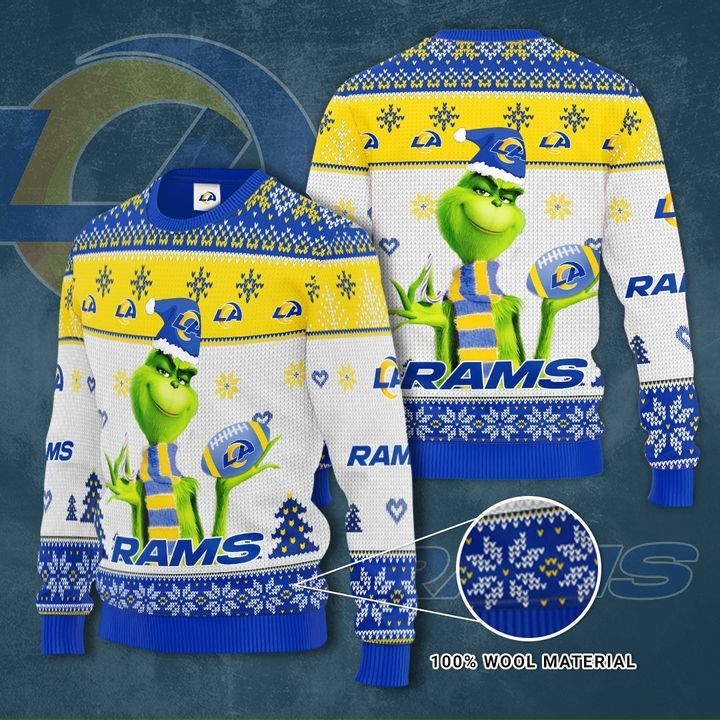 Grinch Los Angeles Rams 3D Ugly Christmas Sweater