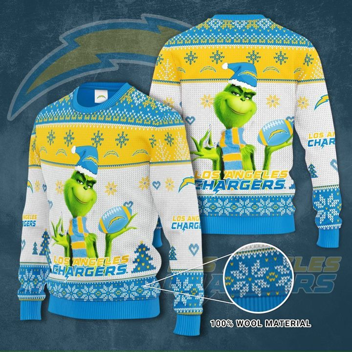 Grinch Los Angeles Chargers 3D Ugly Christmas Sweater