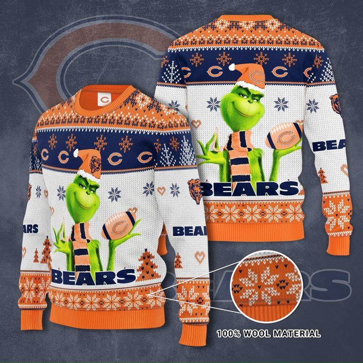 Grinch Chicago Bears 3D Ugly Christmas Sweater