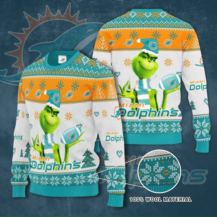 Grinch Miami Dolphins 3D Ugly Christmas Sweater